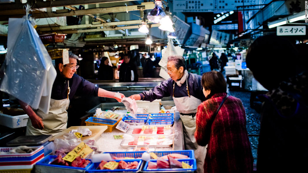 Tokyo's famed Tsukiji fish market handles approximately 3,000 tons of fish and other seafood per day.