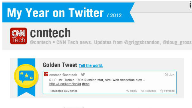 """My Year on Twitter"" lets users see, among other things, their most popular tweet. CNN Tech's? The death of ""Mr. Trololo."""