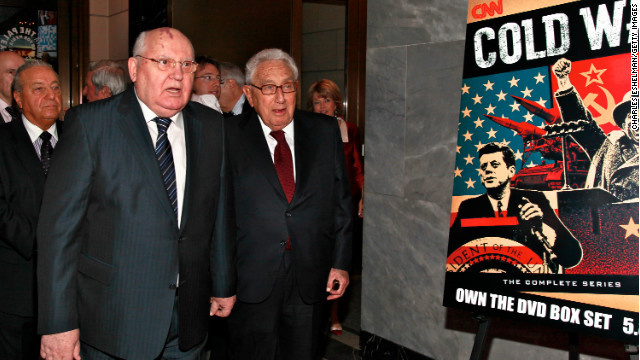 Mikhail Gorbachev and Henry Kissinger attend an event about the Cold War in April. The writers say the U.S nuclear program is based on yesteryear's Cold War ideology.
