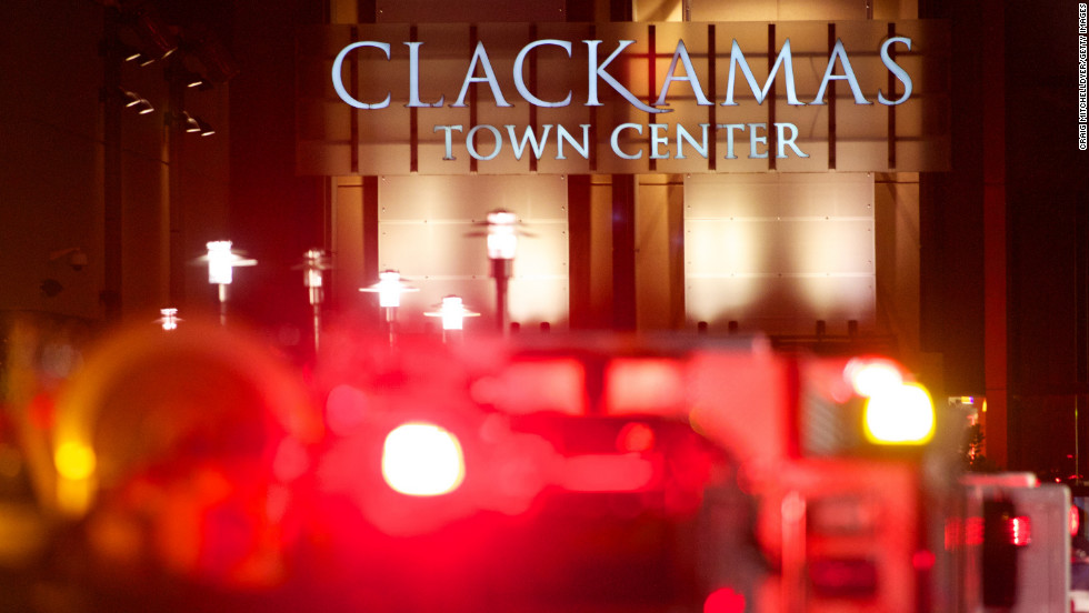 The Clackamas Town Center mall is filled with emergency vehicles and law enforcement.
