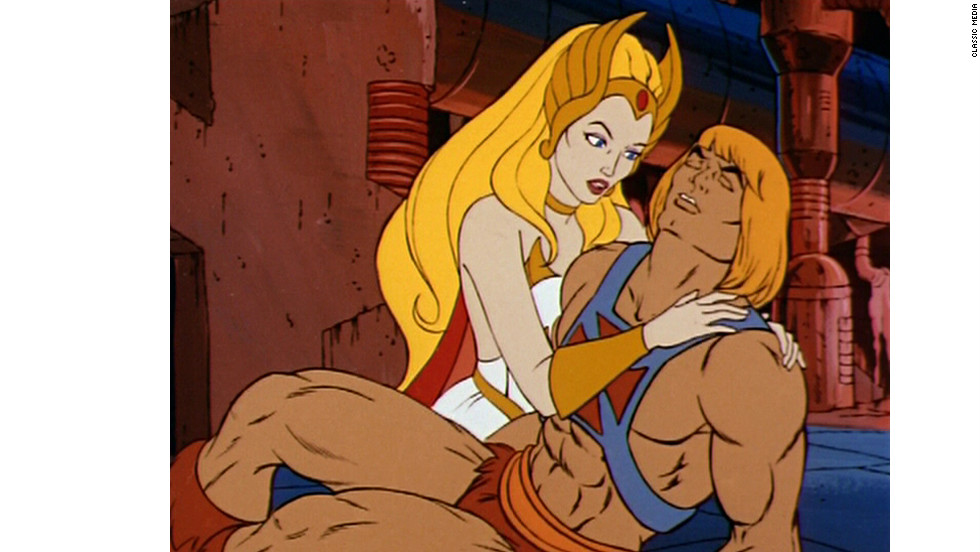 She-Ra with her twin brother, He-Man, defender of the planet Eternia and Castle Grayskull, in 1985.