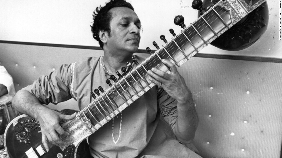Shankar plays his sitar in 1966.