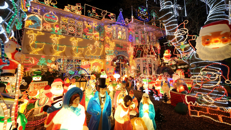 This house in Melksham, England, is a festive local attraction each year. The owners raise thousands of pounds for charity. The display took a team of electricians five weeks to complete.
