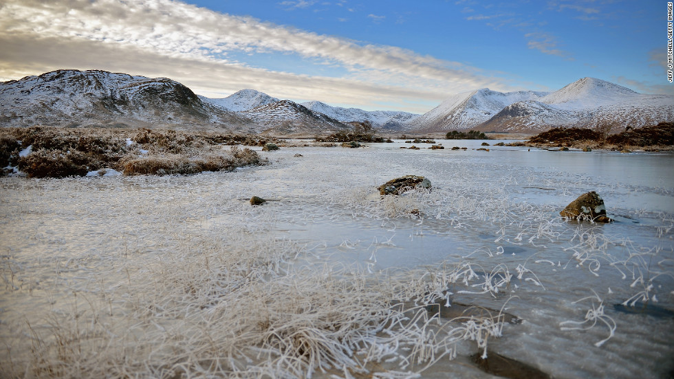 "A frozen view of Lochan na h-Achlaise on Wednesday, December 12, in Rannoch Moor, United Kingdom. Ice and fog spread across the United Kingdom on Wednesday with temperatures reaching -6 degrees Celsius (21.2 degrees Farenheit) in some parts of the country, according to the <a href=""http://www.metoffice.gov.uk/"" target=""_blank"">Met Office</a>."