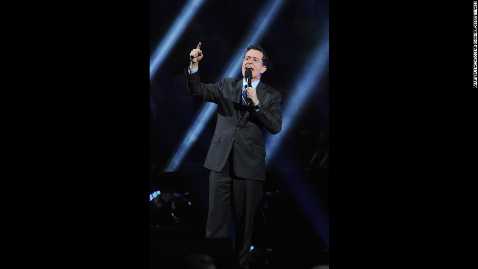 Stephen Colbert added his voice to those supporting Sandy's victims.
