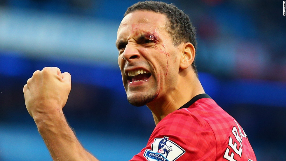 This image of a bloodied and defiant Rio Ferdinand has been at the forefront of a perceived return of hooliganism in English football, following crowd trouble at the Manchester derby.