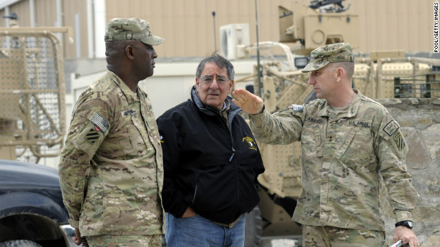 U.S. Defense Secretary Leon Panetta, center, visits Afghanistan's Kandahar airfield Thursday.