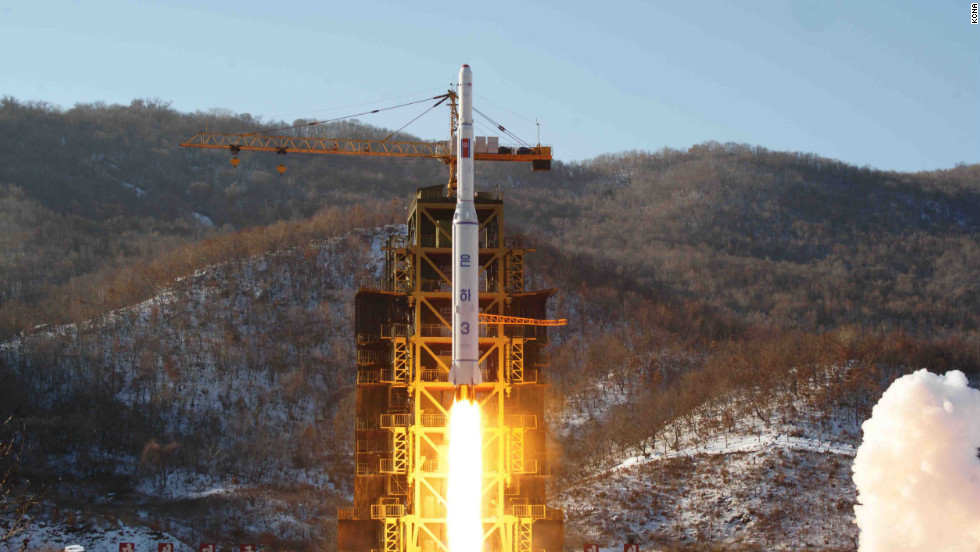 "The Unha-3 rocket carrying ""the second version of satellite Kwangmyongsong-3"" lifts off Wednesday morning from the Sohae Space Center in North Korea's western Cholsan County."