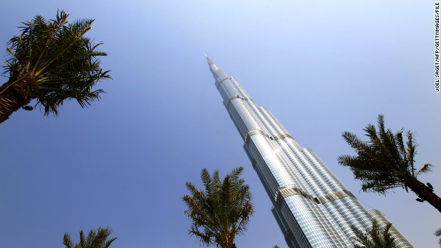 The world's tallest building, the Burj Khalifa, in Dubai.