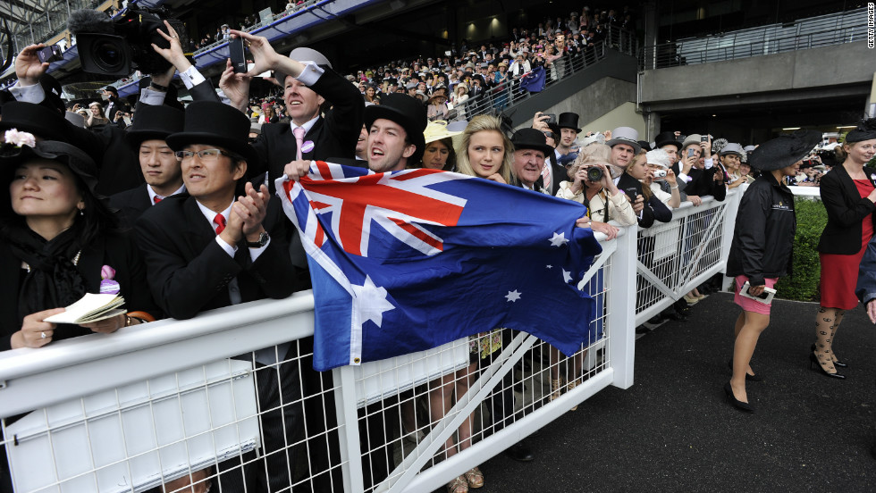 "Thousands of fans turned out to Ascot's Diamond Jubilee Stakes to cheer on the ""Wonder from Down Under."""