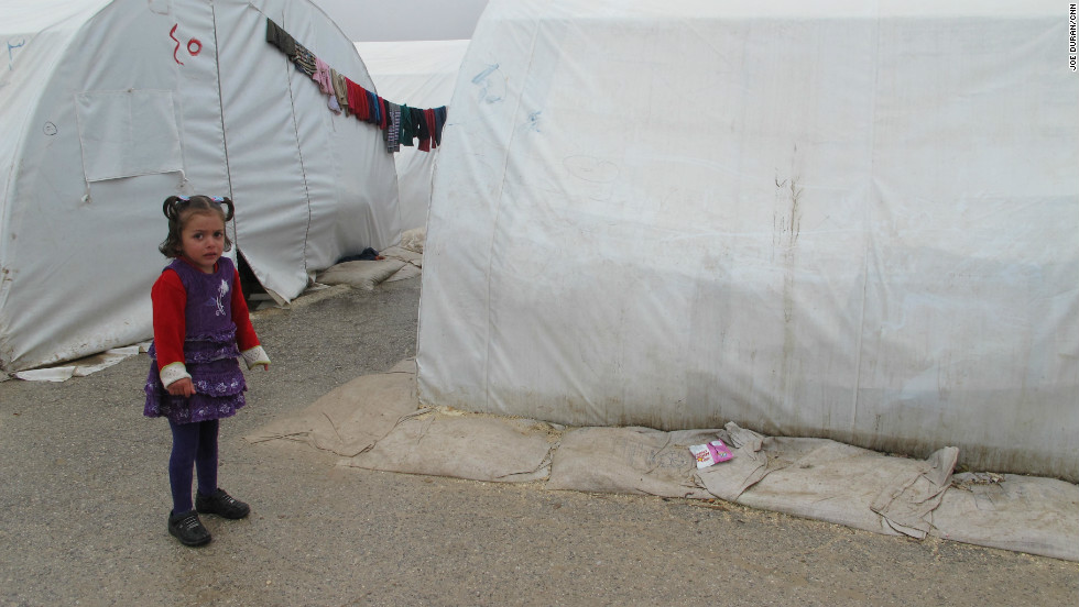 Syrian refugees at the Bab al Salama Camp in Syria on December 7, 2012.