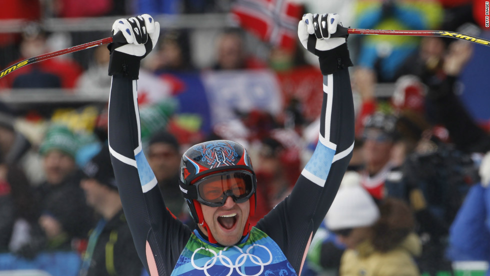 Svindal celebrates his silver medal in the men's downhill in Vancouver. He also won bronze in the giant slalom to complete a full set of medals in one Games.