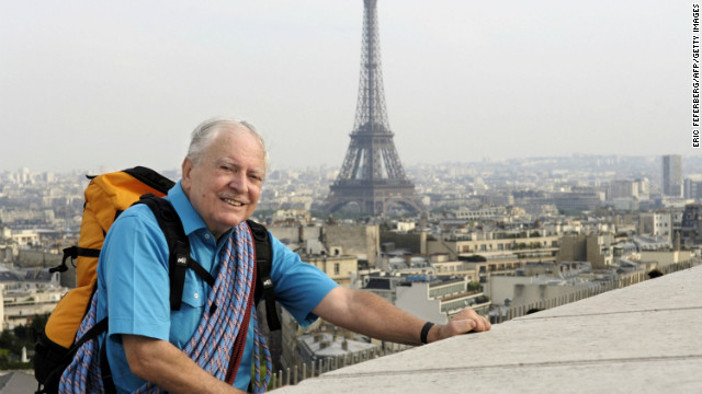 French climber Maurice Herzog on the Arc de Triomphe in Paris in 2005.