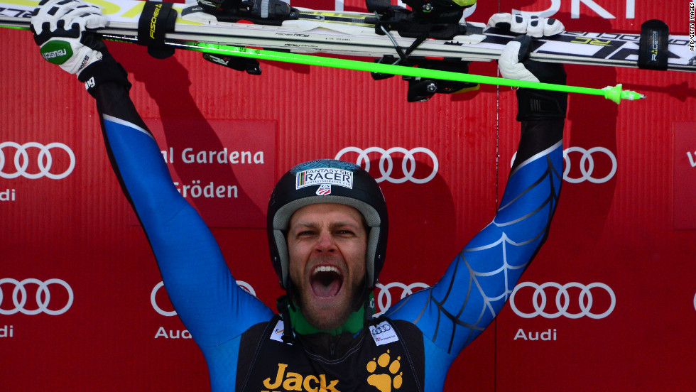 Steve Nyman celebrates his victory in the men's World Cup downhill race at Val Gardena, Italy. His only other win came at the same race in 2006.