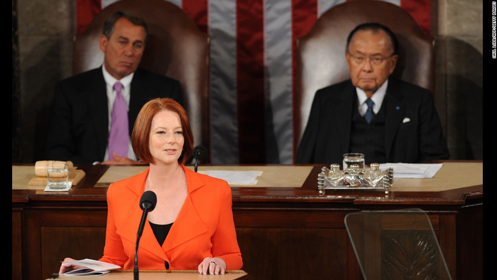 Inouye, right, and Speaker of the House John Boehner listen to Australian Prime Minister Julia Gillard address Congress on March 9, 2011. Inouye was the second longest-serving U.S. senator in the chamber's history, winning his ninth consecutive term in 2010.