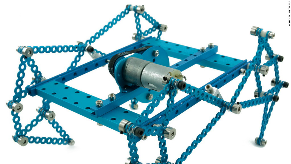"Makeblock appeals to the childhood builder in you. Here a four-legged ""crawler"" robot is powered by a simple motor."