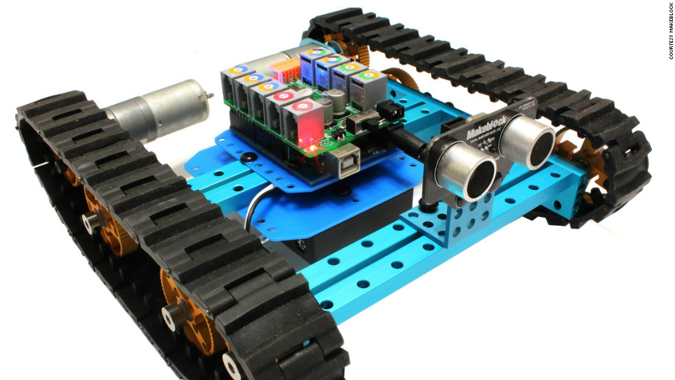 As well as mechanical components, a range of sensors are available with Makeblock kits. In this photo, a robot with tracks has a proximity sensor fixed to the front, so it won't crash into walls.