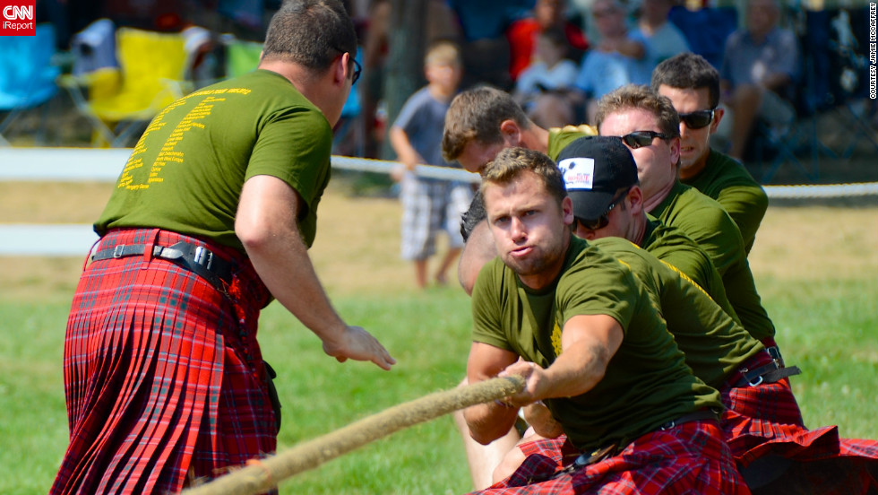 "iReporterJamie McCaffrey from Ottawa captured this victorious pull by soldiers from the Lake Superior Scottish Regiment of the Canadian Army Reserves during the annual Glengarry Highland Games in Maxville Ontario, Canada. ""While not of Scottish heritage I have been drawn to the sounds of the bagpipes since I was a child,"" said the 45-year-old civil servant.<br />""The sight of these soldiers in a brutal test of raw strength while combined with the skirl of the pipes, the colours and flash of the different tartans on the kilts, and the cheer of the crowd was a feast for the eyes and ears. Although, I understand that the music of the bagpipes may not be for everyone- subtle it is not,"" he added."