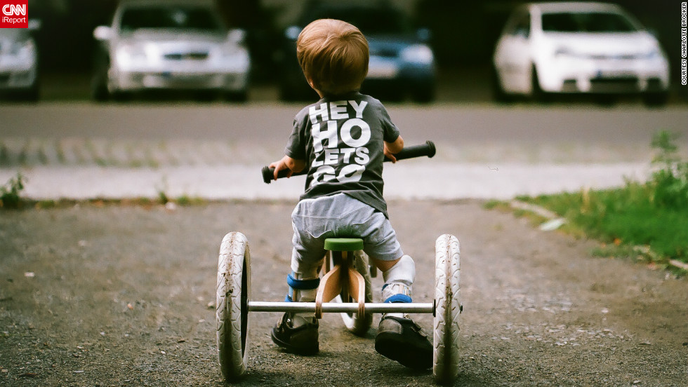 "iReporter Charlotte Bröcker took this photo of her son Malik rocking his Ramones t-shirt on a bike in August.<br />Malik was born with clubbed feet and a physical condition called Arthrogryposis Multiplex Congenitas which means he has little muscle strength in his limbs.<br />His mum Charlotte, a 35-year-old trainee teacher from Berlin, took this photo in August after the casts on Malik's legs had been taken off: ""He loves playing with mud and water so we were all very happy when the casts were removed.""<br />""I was a bit down for a few weeks before the photo was taken, but at some point in the summer the weight got lifted of me. Watching my cheerful and determined young man helped me to realise what matters in life and what doesn't,"" she said."