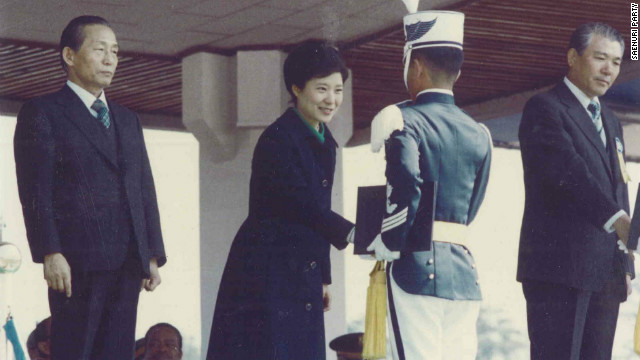 Park Geun-hye, now a South Korean presidential candidate, shakes hands with graduates of Air Force Academy in 1979.