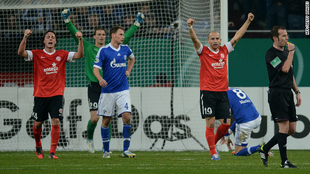 Schalke will not regain the German Cup title they won in 2011 after they were knocked out of the competition by Mainz