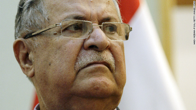 Iraqi President Jalal Talabani is shown on January 23, 2010, in Baghdad. A lawmaker says he is in intensive care.
