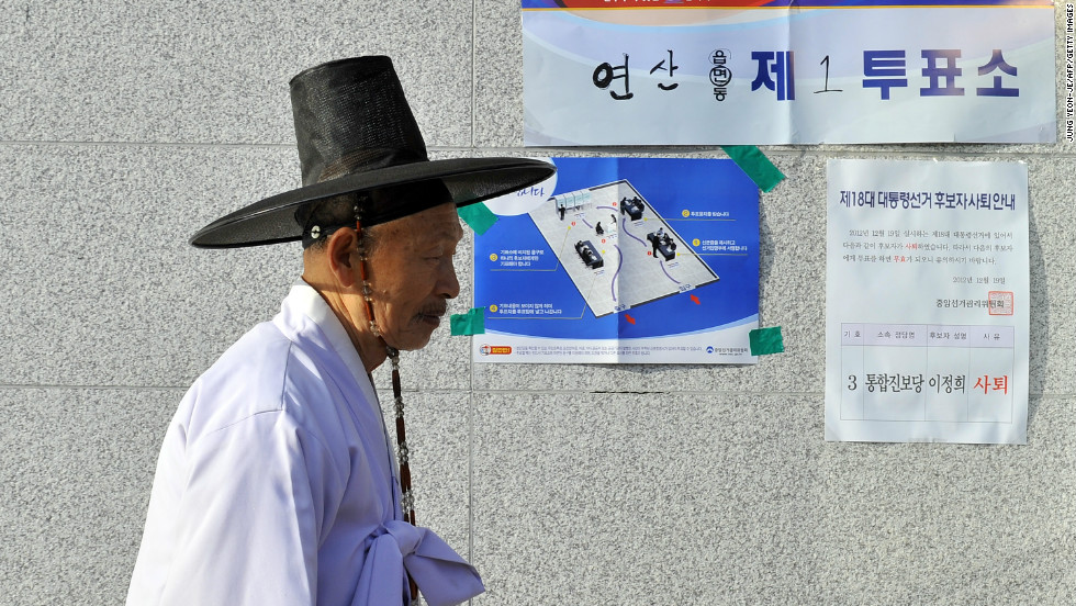 South Korean Confucian scholar Yoo Bok-Yeob, wearing traditional dress, arrived to cast his vote at a polling station in Nonsan,  south of Seoul.