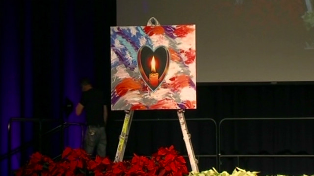 See artist paint during Newtown memorial