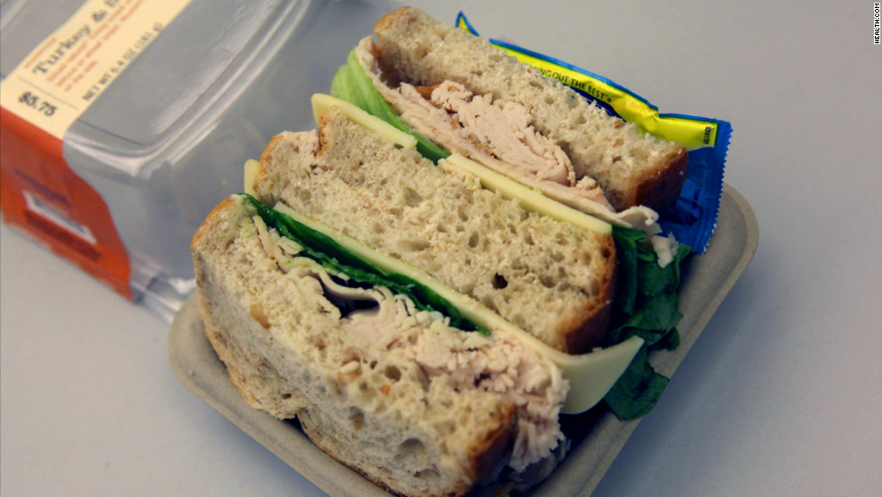 <strong>Starbucks' Turkey & Swiss Sandwich: </strong>With crispy leaf lettuce peeking through, this 390-calorie sandwich seems harmless enough. But a quick ingredient check reveals salt in the turkey breast, the Swiss, and the wheat bread -- 1,140 milligrams of sodium in all. <strong>Choose this instead:</strong> A Roasted Tomato & Mozzarella Panini with basil pesto (630 mg of sodium). For the same number of calories, you'll cut your sodium intake by 550 mg.