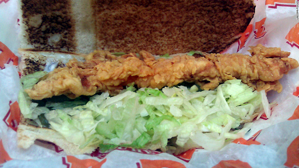 "<strong>Popeye's Chicken Po' Boy: </strong>This Southern favorite nestles two battered, fried chicken tenders in a French baguette with pickles and mayo. This fatty, salty combo has 2,120 milligrams of sodium and 635 calories. You can do better. <strong>Choose this instead:</strong> Naked Chicken Wrap. ""Naked"" because the chicken is prepared without breading, slashing the sodium count to 580 mg and skinnying up the calorie count to 200."