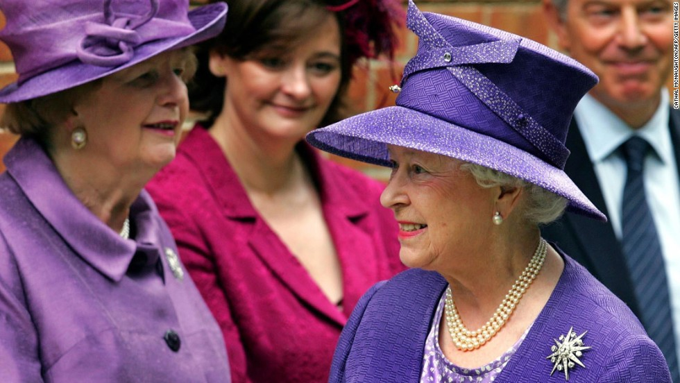 Thatcher, from left, Cherie Blair, Queen Elizabeth II and Prime Minister Tony Blair attend a church service at Pangbourne College in June 2007 to mark the 25th anniversary of victory in the Falklands War.