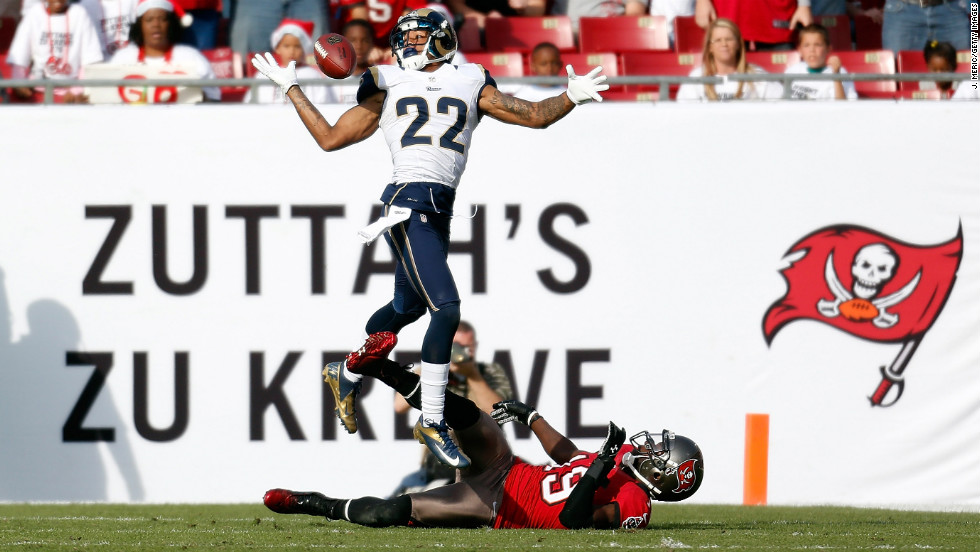Defensive back Trumaine Johnson of the Rams breaks up a pass intended for receiver Mike Williams of the Buccaneers on Sunday.