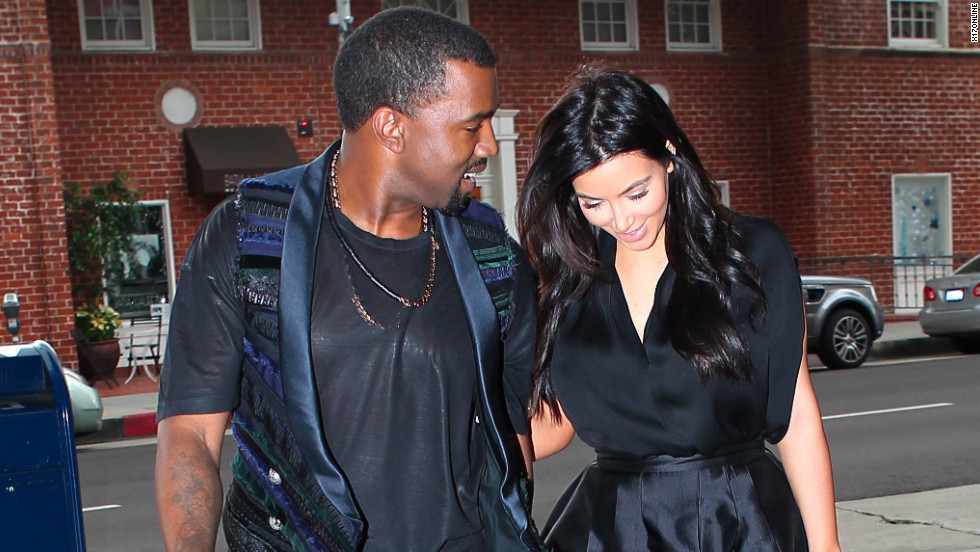Kanye West and Kim Kardashian spend time together.