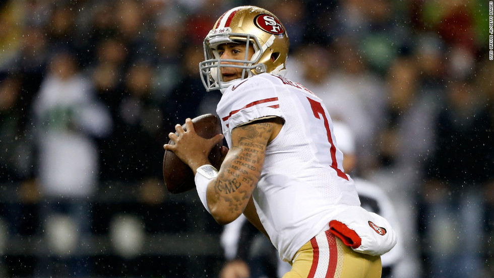 "Colin Kaepernick of the San Francisco 49ers looks to pass against the Seattle Seahawks at Qwest Field on Sunday, December 23, in Seattle. Check out the action from Week 16 of the NFL and then<a href=""http://www.cnn.com/2012/12/13/worldsport/gallery/nfl-week-15/index.html"" target=""_blank""> look back at the best photos from Week 15</a>."