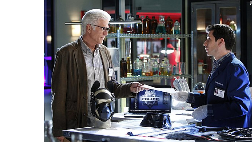 "Ted Danson began starring on CBS' ""CSI: Crime Scene Investigation"" in 2011. He's pictured here with Jon Wellner, who plays Henry Andrews on the show."