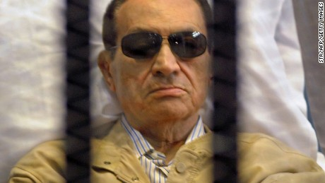 Ousted Egyptian president Hosni Mubarak seen inside a cage in a Cairo courtroom during his trial in 2012.
