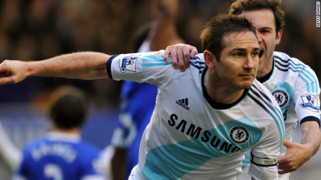 Frank Lampard is congratulated by Juan Mata after scoring Chelsea's second goal at Everton in a 2-1 win.