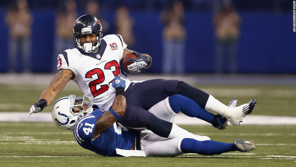 Antoine Bethea of the Indianapolis Colts tackles Arian Foster of the Houston Texans on Sunday.