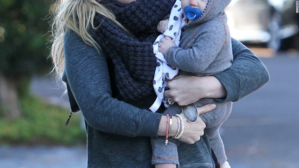 Hilary Duff walks with son Luca in Los Angeles on December 30.
