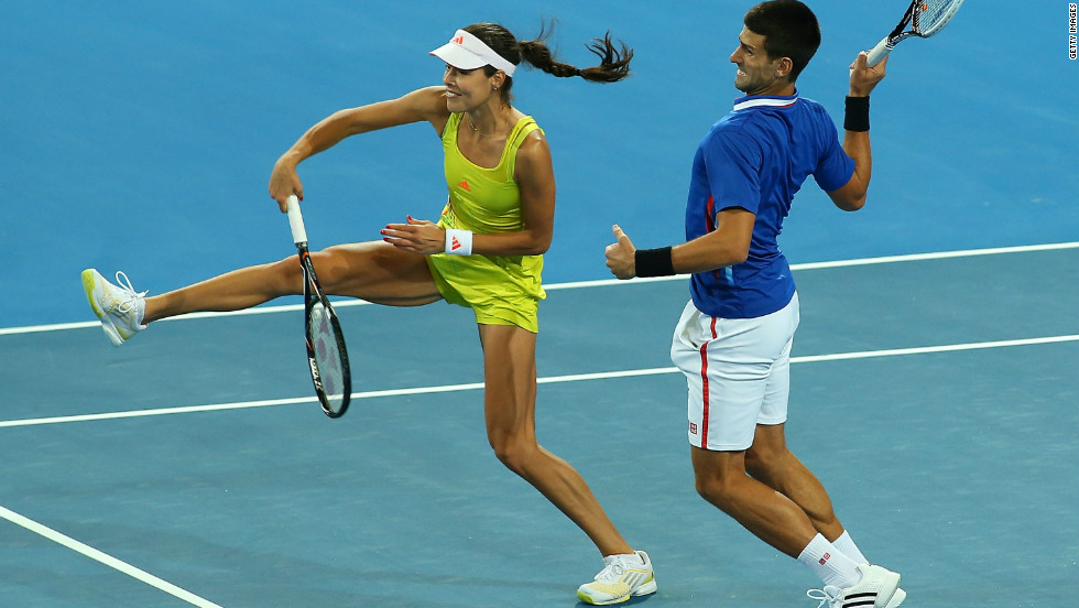 Djokovic returned to play with Ana Ivanovic in a mixed doubles match for Serbia against Italy.