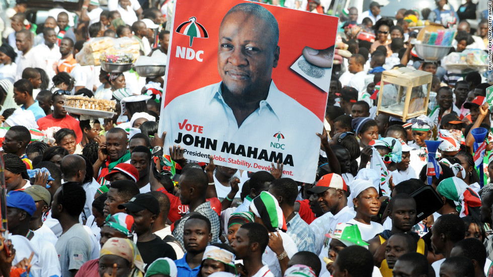 In a pre-election survey conducted by CDD-Ghana, Ghanaians stressed that unemployment should be a key challenge for the 2016 election campaigns to address.<br /><br />Pictured: NDC supporters carry a picture of President Mahama in Accra, December 2012.