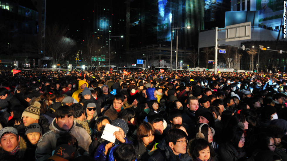 Thousands of South Koreans attend the New Year's countdown celebration in central Seoul.