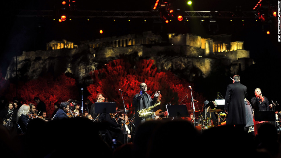 A band performs in front of the Acropolis during celebrations in Athens.