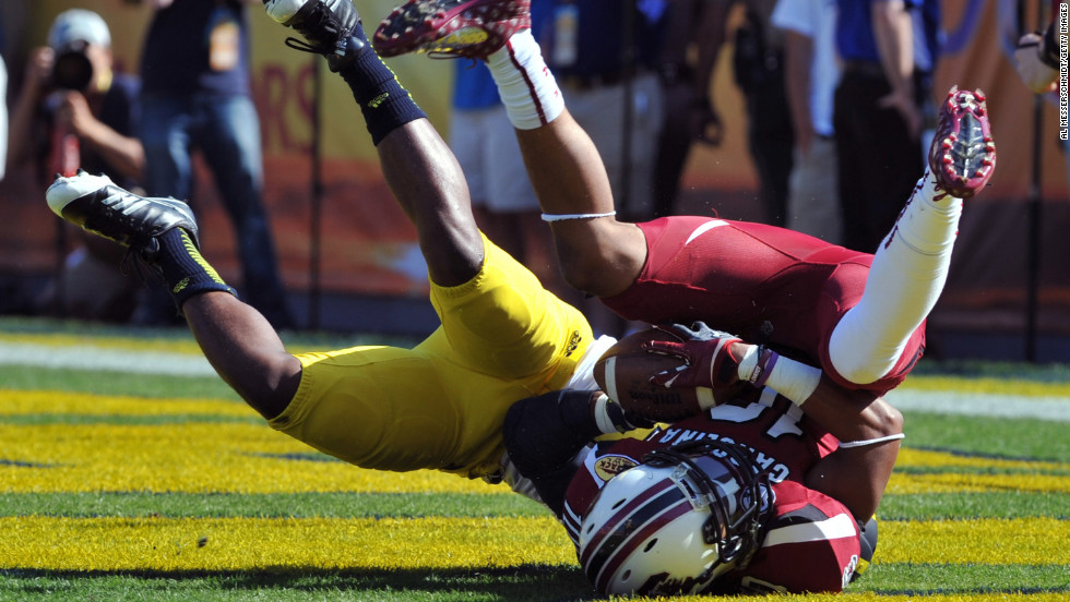 Wide receiver Damiere Byrd of the South Carolina Gamecocks catches a 56-yard touchdown pass against the Michigan Wolverines on January 1.