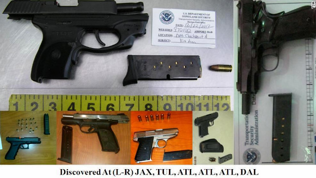 In 2012 more than 1,500 firearms were discovered by screeners at airport checkpoints, TSA spokesman David Castelveter said.