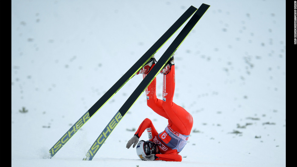 Lukas Hlava of the Czech Republic wipes out during the final round at Garmisch-Partenkirchen on January 1.