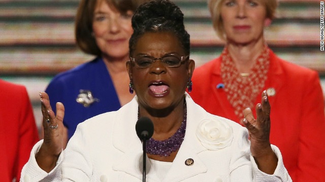 CHARLOTTE, NC - SEPTEMBER 04: U.S. Rep. Gwen Moore (D-WI) speaks on stage with other female members of Congress during day one of the Democratic National Convention at Time Warner Cable Arena on September 4, 2012 in Charlotte, North Carolina. Moore announced Tuesday that she is in remission from lymphoma.