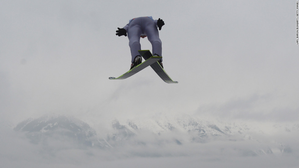 An athlete soars during the trial round of the FIS Ski Jumping World Cup at the 61st Four Hills Ski Jumping Tournament at Bergisel-Stadion on January 4.