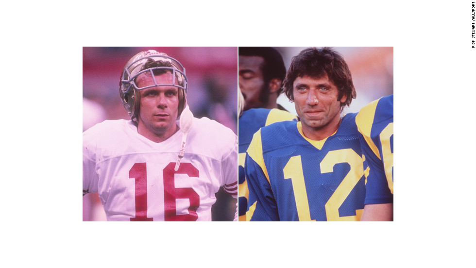 Joe Montana, pictured at left during Super Bowl XXIV in 1990, entered Notre Dame in 1974. Joe Namath, pictured playing for the Rams in 1977, was a 1964 All-American for Alabama.