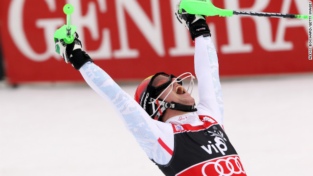 Marcel Hirscher celebrates after winning the giant slalom in Zagreb, Croatia.